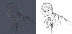 left - the original digital sketch , right - sketch with the background removed and all the colors de-saturated.